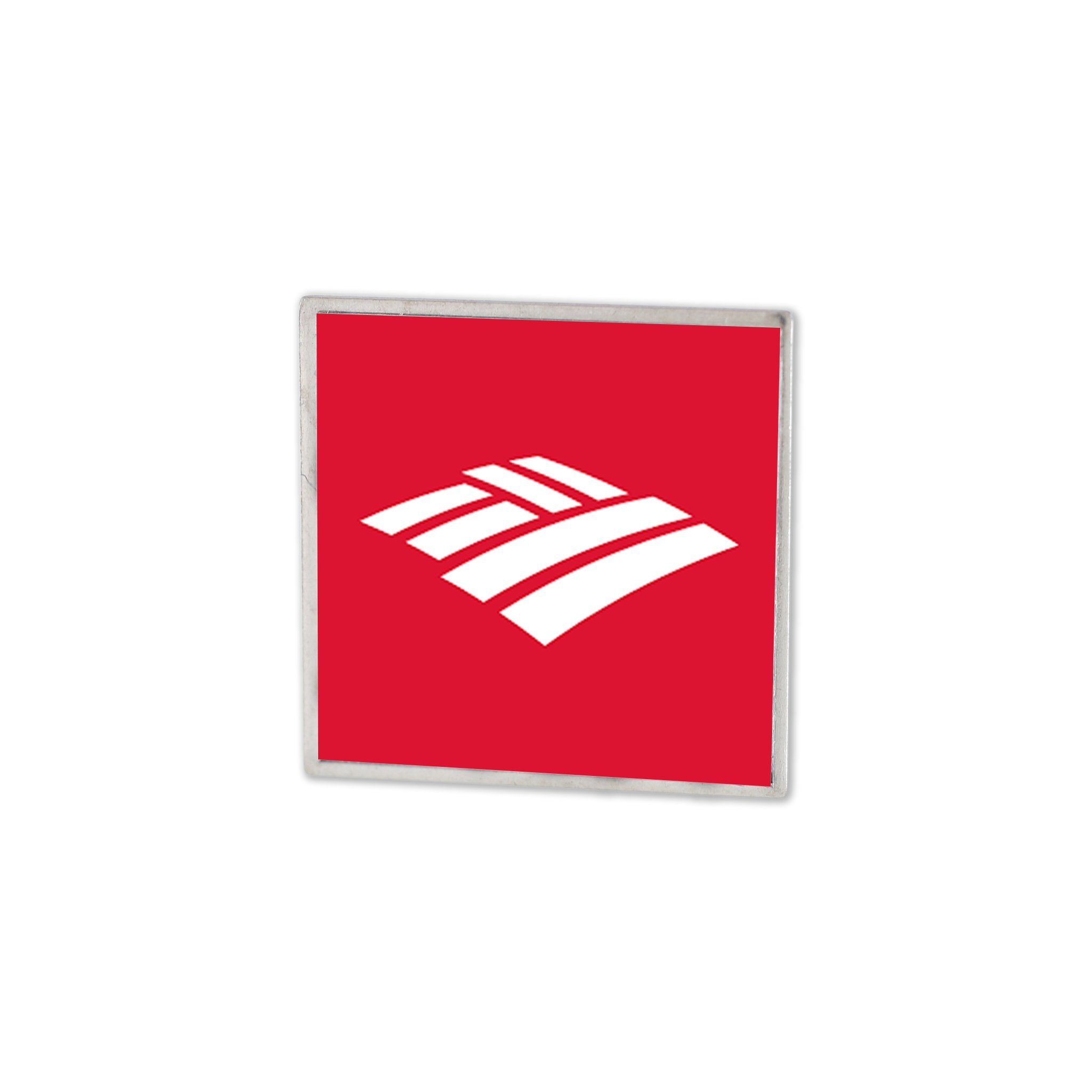 bank of america custom lapel pin with printed logo design on square stock shape