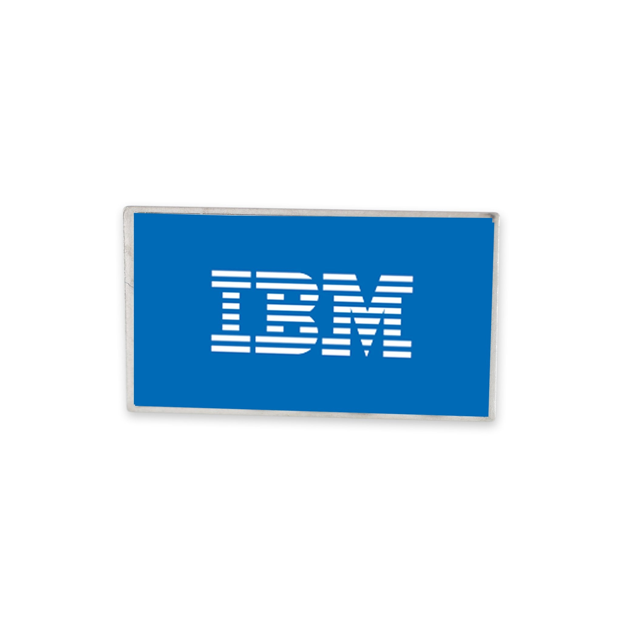 IBM company logo printed on rectangle stock shape lapel pin