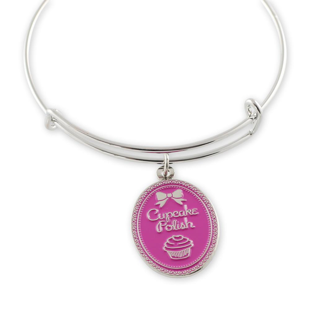 Custom Pink Charm Alex and Ani style bangle bracelet