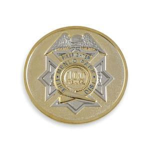 two-tone metal challenge coin with silver and gold shiny metal