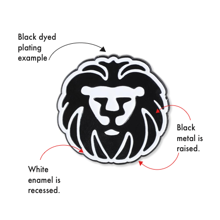 custom lion pin with black dyed plating