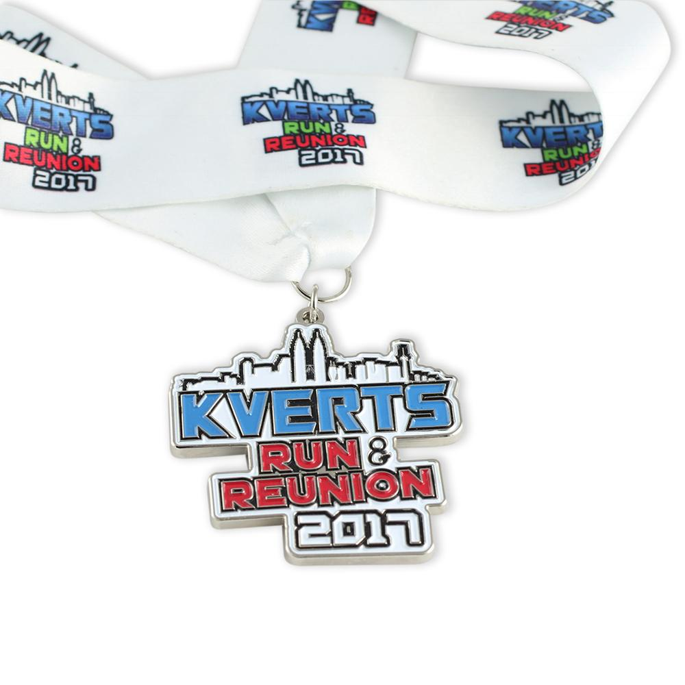 Custom diestruck finisher medal with enamel colorifll