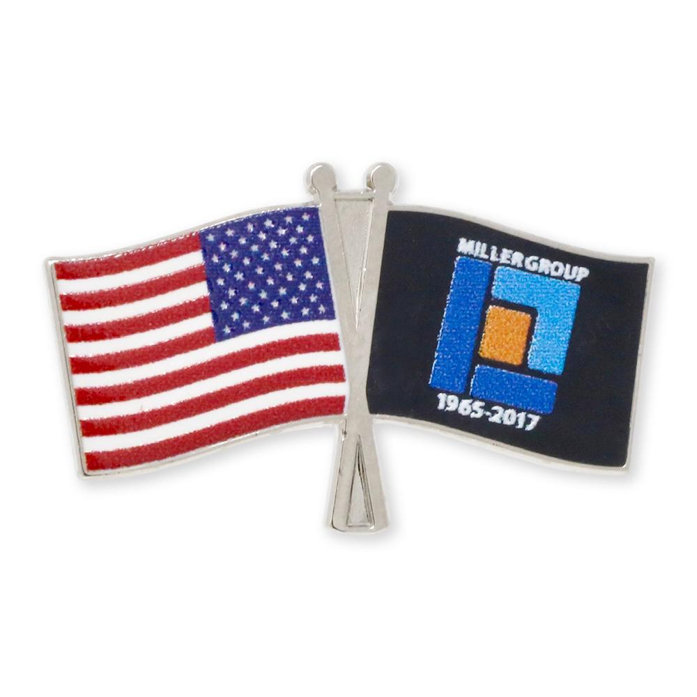 USA Crossed Flag Lapel Pin Made In USA