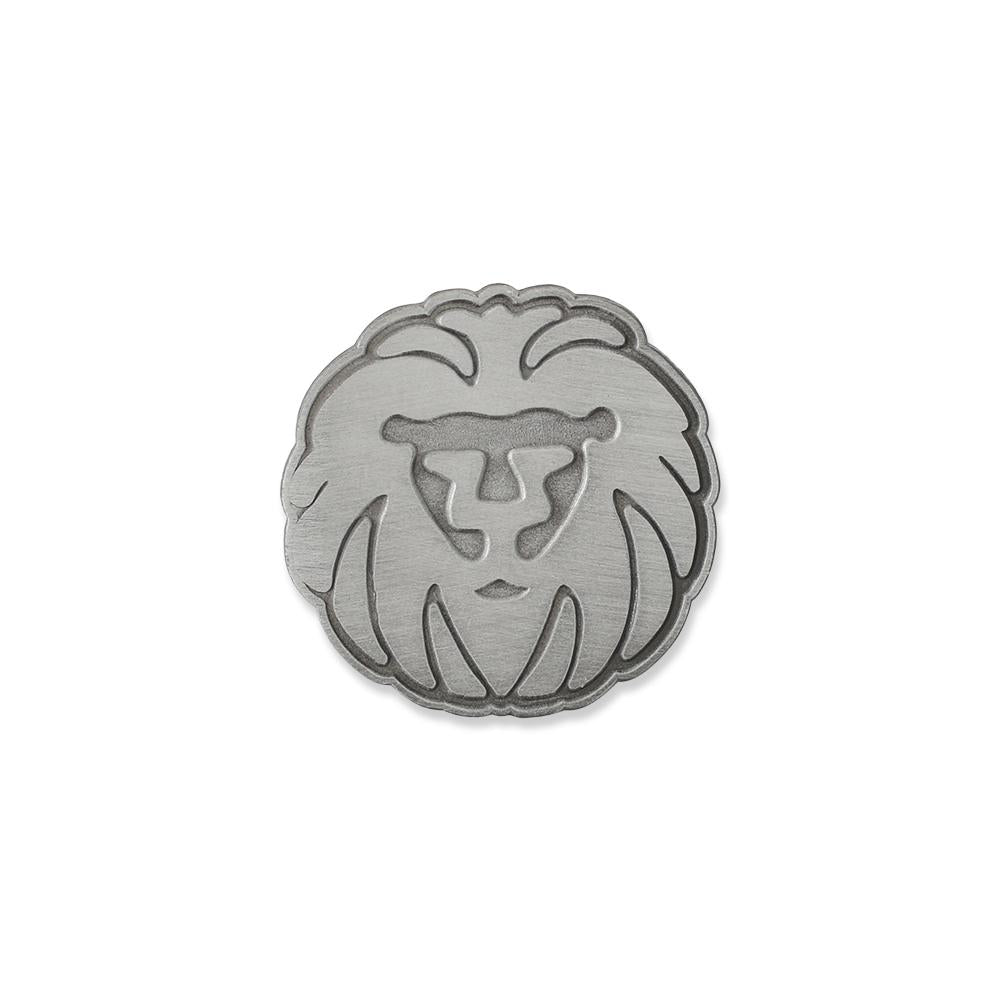 Custom diestruck antique silver lion diecut lapel pin