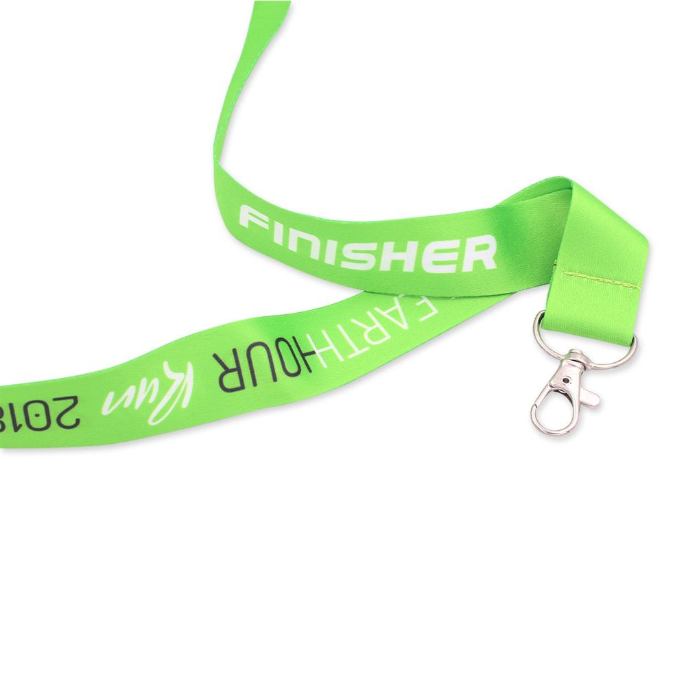 Heat transfer dye-sublimated custom lanyard with two color print