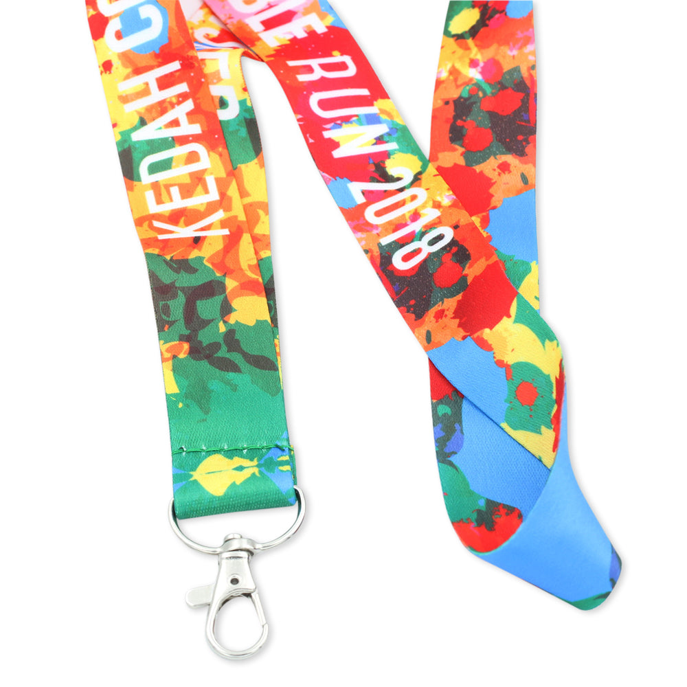 Custom lanyard for tradeshow with multiple colors and submlimated nylon look