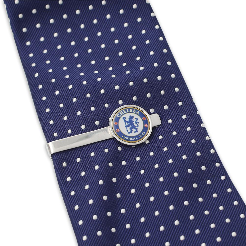 Custom Chelsea FC Tie Bar on Blue And White Tie