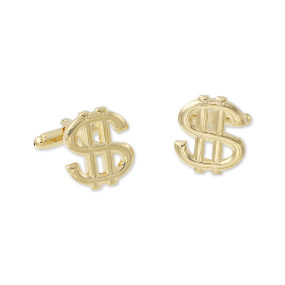 Money Sign $ Custom Cufflinks Gold Metal