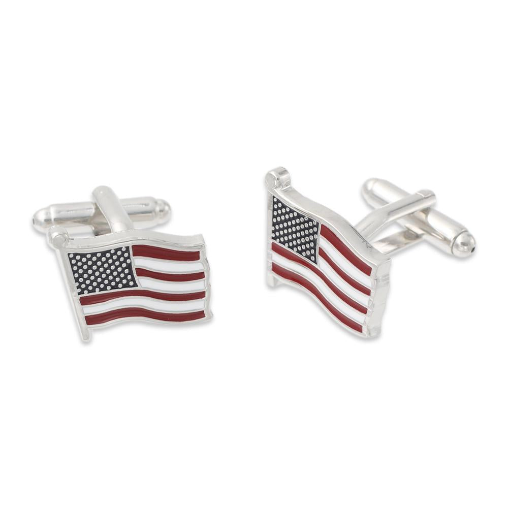 Waving American Flag Cuff Links Silver Metal