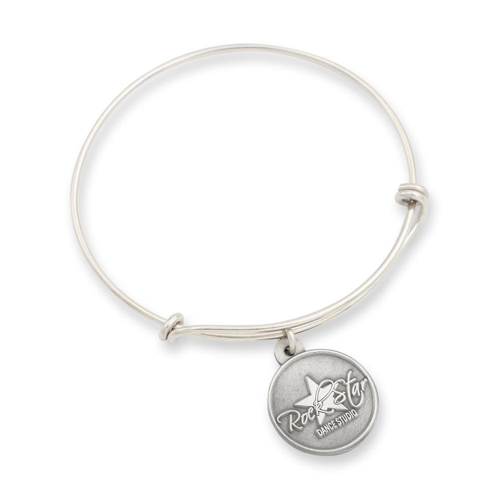 Custom diestruck charm with silver shiny adjustable bangle bracelet