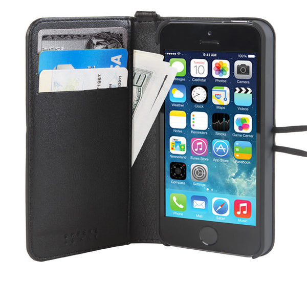 Black Leather Wallet Case for iPhone 5/5s
