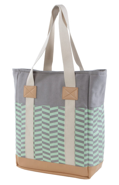 Green Chevron Laptop Tote