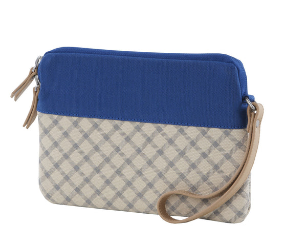 Blue/Taupe iPad Mini Sleeve Clutch