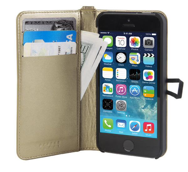 Gold Leather Wallet Case for iPhone 5/5s