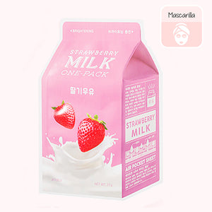 Mascarilla facial coreana. Strawberry Milk One Pack. Marca cosmética coreana. A'PIEU