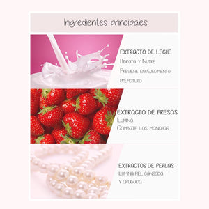 Ingredientes. Mascarilla facial coreana. Strawberry Milk One Pack. Marca cosmética coreana. A'PIEU. Efecto antimanchas. Efecto antiaging