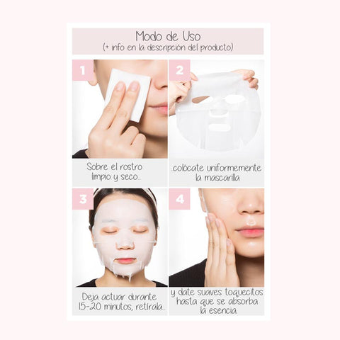 Modo de uso. Mascarilla facial coreana. Strawberry Milk One Pack. Marca cosmética coreana. A'PIEU. Efecto antimanchas. Efecto antiaging