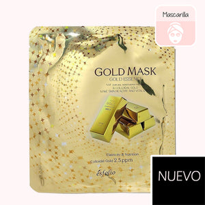ESFOLIO Gold Essence Mask. mascarilla facial. cosmetica coreana. koco chic. korean cosmetic. sheetmask. mascarilla dorada. mascarilla de oro. mascarilla antiaging. antiedad