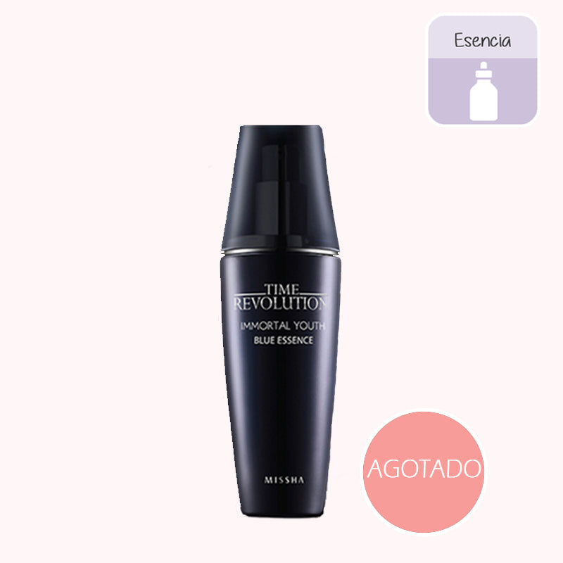 Esencia. Time Revolution Immortal Youth Blue Essence. Marca cosmética coreana. Missha. Antiarrugas. Antiaging. Mejora firmeza. Unifica tono. Piel madura
