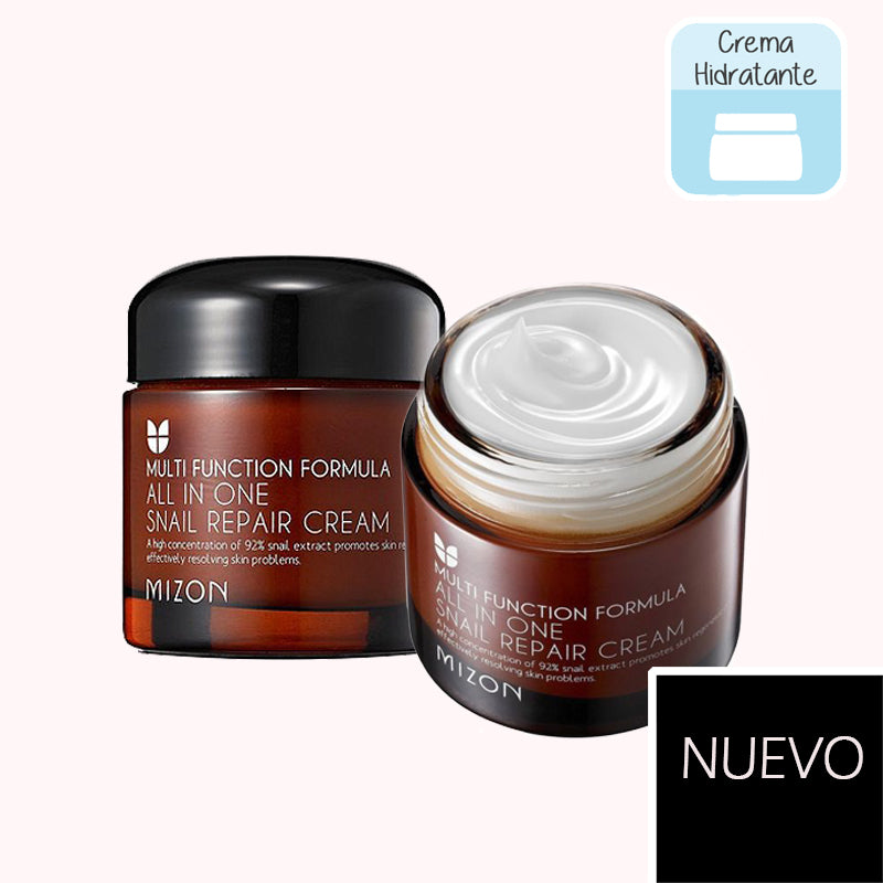 MIZON All in One Snail Repair Cream. crema hidratante mucina de caracol. mizon. cosmetica coreana. korean cosmetic. kbeauty. koco chic