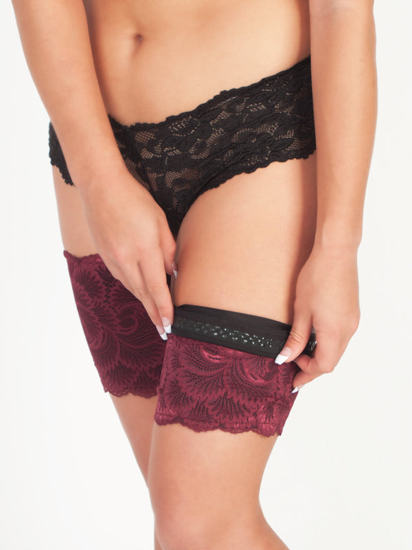 Prevent Inner Thigh Chafing Burgundy Lace Thigh Guards Folded Down