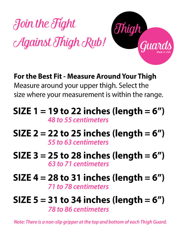 Thigh Guards Size Chart Camel Lace