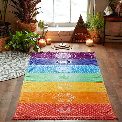"7 Chakra Yoga Tapestry (100% Cotton) Yoga 59""x59"" Front Launch"