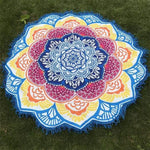 Mandala Lotus (100% Cotton) Yoga Blue A Towel MiniDeals Store