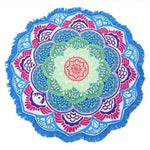 Mandala Lotus (100% Cotton) Yoga Blue C Towel MiniDeals Store