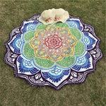 Mandala Lotus (100% Cotton) Yoga Blue D Towel MiniDeals Store