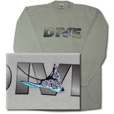 Designated Diver Classics Spotted Eagle Ray Long Sleeve Dive Tee Shirt