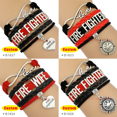 (10 Pieces/Lot) Infinity Love Firefighter Fire Fighters Bracelet Best Gift for Fire Fighters Wife Custom Any Theme Drop Shipping