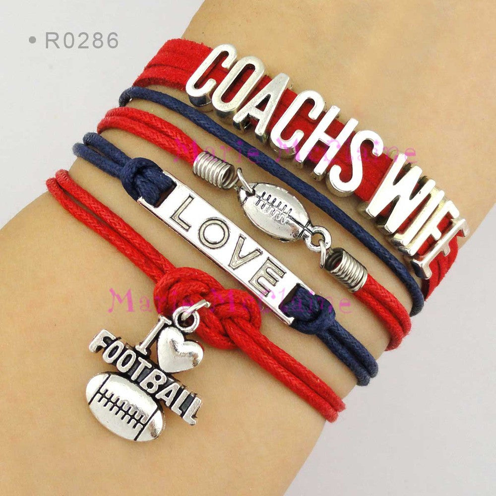 (10 Pieces/Lot) Baseball Bracelet Softball Football Captain Cheer Mom Clover Athlete Number Officer Wife Police Wife - Custom