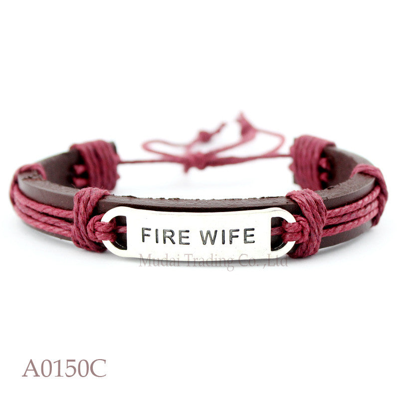 (10 pieces/lot) Fire Wife Adjustable Leather Cuff Bracelet for Men & Women Firefighter Wife Bangle Punk Casual Wristband Jewelry