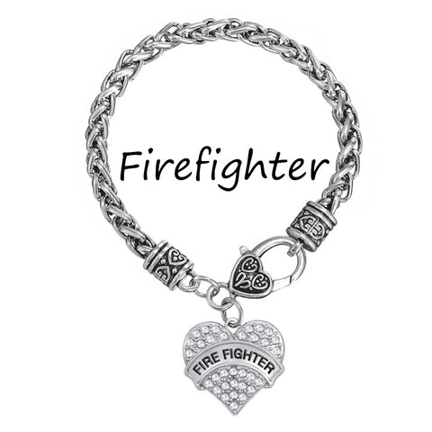 5pcs Myshape Firefighter Crystal Heart Charm Lobster Claw Bracelet Profession Graduation Jewelry Gift 2016