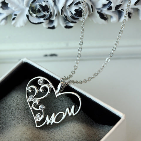"Fashion Korean mother and child love ""Mom"" crystal pendant necklace Mother's Day gifts sweater chain necklace for mother"