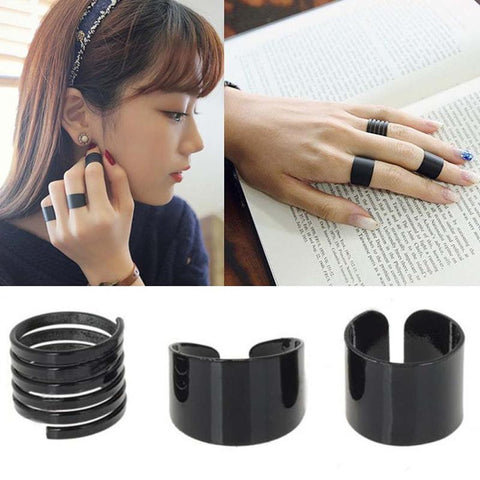 3Pcs/Set Black Open Ring Top Of Finger Ring Over The Midi Tip Finger Above The Knuckle Ring Punk Ring  Women Fashion Jewelry