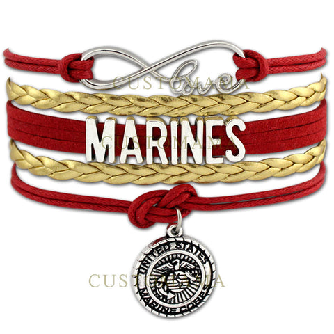 (10 PCS/Lot) Infinity Love United States Marine Corps Wrap Bracelet Marines Bracelet Red Blue White Marine Sister Marine Mom