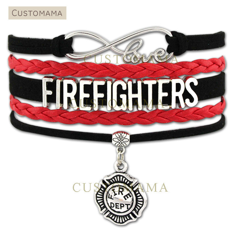 (10 PCS/Lot) Infinity Love Firefighters Bracelet Gift for Fire Fighter in The Fire Department Red Black Suede Leather Custom
