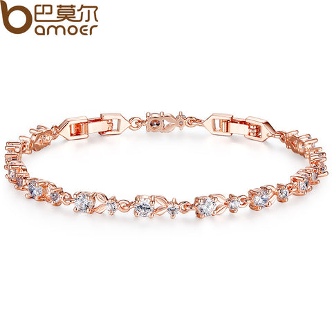 BAMOER 6 Colors Luxury 18K Rose Gold Plated Chain Bracelet for Women Ladies Shining AAA Cubic Zircon Crystal Jewelry JIB013