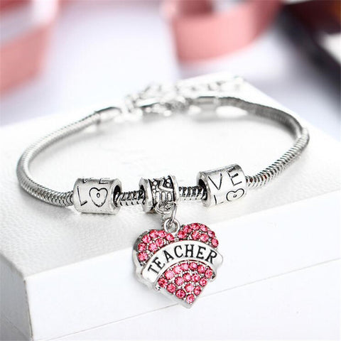 3 Colors Charm Teacher Bracelets Bangle For Student Women Men Jewelry,Crystal Luxury Classmate Breacelet Pendants Wholesale