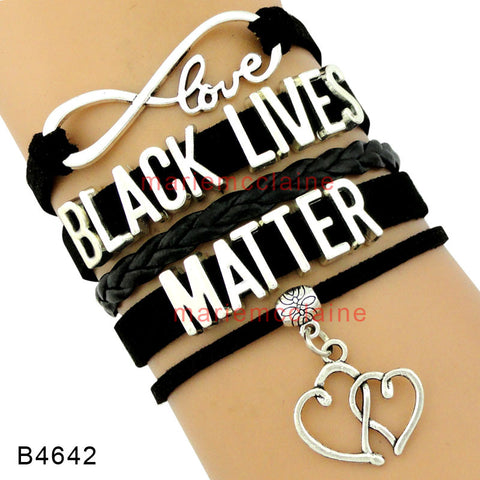 (10 Pieces/Lot) Infinity Love Black Lives Matter Wrap Bracelets Double Heart Charms Multilayer Black Leather Cuff