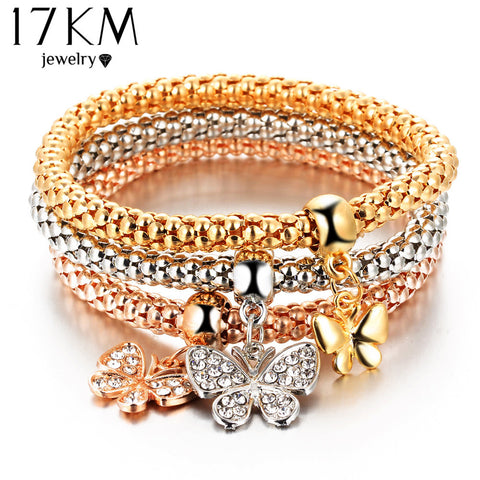 17KM 2016 hOT 3 PCS/Set Crystal Butterful Bracelet & Bangle Elastic Heart Bracelets For Women pulseira masculina
