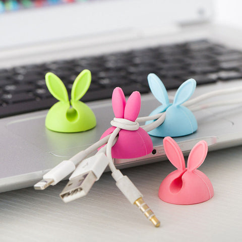 4pcs ( Single Color )  Rabbit Ear Cable Cord Wire Line Organizer Clips Fixer Fastener Holder Wholesale