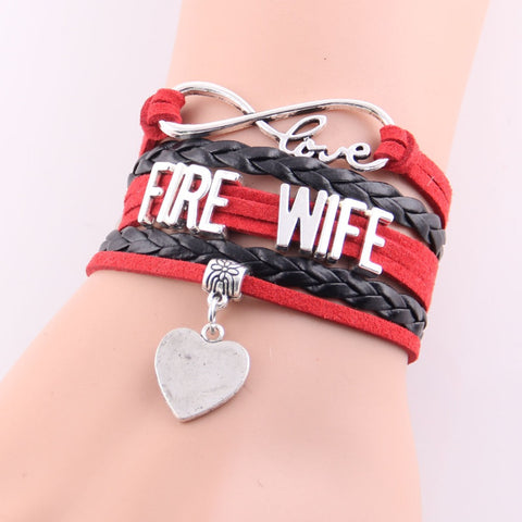 Best gift Infinity Love firefighter wife bracelet heart any name color charm custom made rope leather charm bracelets & bangles
