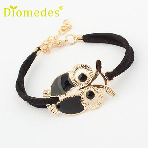 Best seller Diomedes Free Shipping High quality Korean Fashion Womens Girls Vintage Owl Decoration Faux Leather Bracelets Jun17