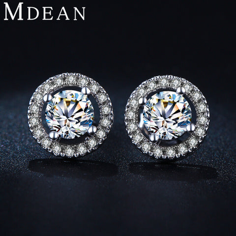 MDEAN Stud Earrings for women White Gold Plated CZ diamond Jewelry AAA zircon Round boucle d'oreille Wedding brincos  MSE032