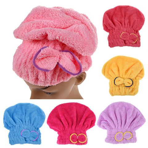 1PCS Home Textile Microfiber Solid Hair Turban Quickly Dry Hair Hat Wrapped Towel Bath Cap 6 Colors Available Free Shipping