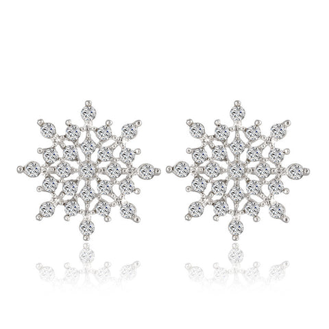 New!!! Ladies Crystal Snow Flake Bijoux Statement Stud Earrings For Women Earring Fashion Jewelry Free Shipping