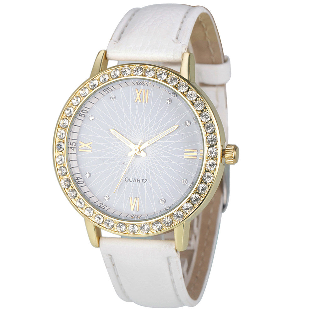 Casual Women Watch, Fashion Montre Women's Crystal Diamond Watches Analog Leather Quartz Wrist Watch Female Dress Relogio